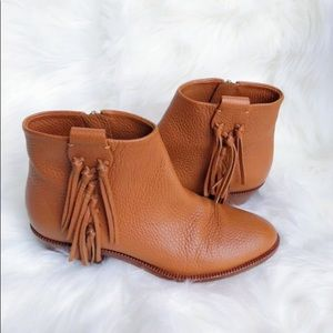 Valentino Fringe Leather Brown Booties